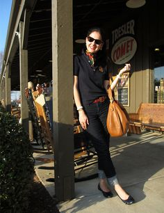 Jeans and Navy Ralph Lauren Crested Polo Shirt, with Coach Red Belt, Brown Ralph Lauren Hobo Bag, Ballet Flats, Silk Scarf, and Tortoise Original Rayban Wayfarer Sunglasses. Preppy outfit for a road trip!