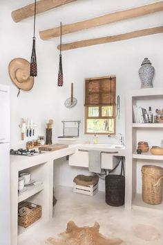 Kitchen Interior Design Love white and wood Rustic kitchen design - A boho-chic Airbnb on Mexico's charming Holbox Island, Casa Impala mixes splendid rustic aesthetics with a sense of comfort. Rustic Kitchen Design, Home Decor Kitchen, Interior Design Kitchen, Home Kitchens, Decorating Kitchen, Kitchen Ideas, Farmhouse Kitchens, Modern Kitchens, Kitchen Trends