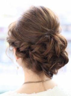 結婚式お呼ばれヘアアレンジ 編み込みヘアスタイル