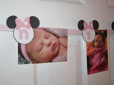 Minnie Mouse Light Baby Pink White Polka Dot First Year Photo Tag Banner - Birth to 12 months