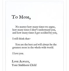 Forever and always  love you momma