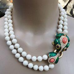 Vintage Ciner Couture Runway Jeweled Enamel Frog Glass Necklace   eBay
