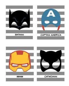 Superhero Mask Prints/ Batman Mask/ Captain by aprintpalette