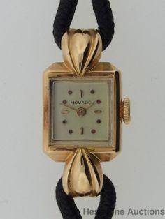Vintage Retro Deco Heavy 18k Gold Ladies Cool Movado Wrist Watch
