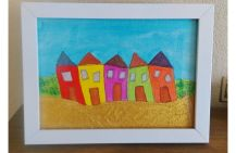 Quirky seaside houses by a textured beach now finished and framed. 5X7 acrylic on canvas