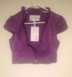 NEW! Ashley Purple Crop Jacket 3 Button #Ashley #CropJacket #Casual