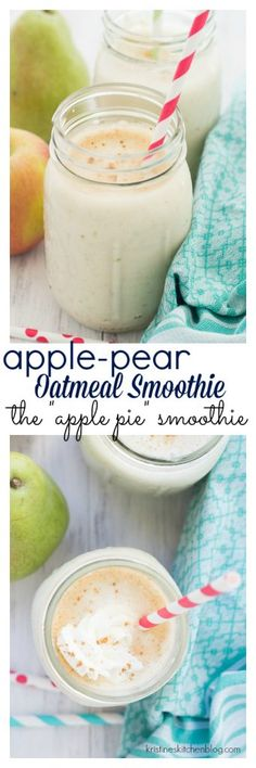 This Apple-Pear Oatmeal Smoothie is a deliciously healthy way to start your day. Cinnamon, nutmeg, and pure vanilla extract bring the flavors of apple pie to this creamy oat smoothie. Smoothie Detox, Apple Pie Smoothie, Oatmeal Smoothies, Juice Smoothie, Breakfast Smoothies, Smoothie Drinks, Smoothie Bowl, Healthy Smoothies, Healthy Drinks