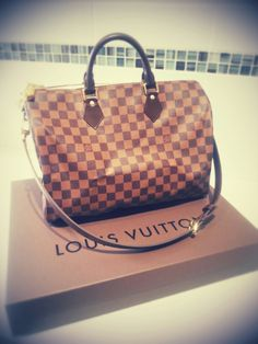 My newest Louis Vuitton purchase, Speedy Bandouliere 35 LOVE LOVE LOVE ♥♥♥ Louis Vuitton Speedy Bag, Purses, Bags, Accessories, Shoes, Fashion, Handbags, Handbags, Moda