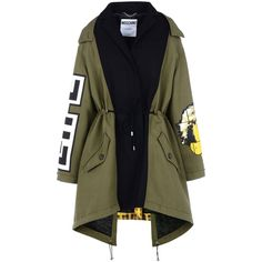 Moschino Coat (8.640 BRL) ❤ liked on Polyvore featuring outerwear, coats, jackets, tops, military green, quilted coat, olive coat, print coat, long sleeve coat and patterned coat