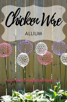 Chicken Wire Allium – Gardening in the Shade – Diy Flower 2020 Diy Garden, Garden Crafts, Garden Projects, Garden Bed, Diy Crafts Yard, Diy Yard Decor, Garden Ideas, Shade Garden, Chicken Wire Art