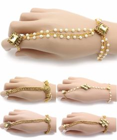 Adjustable Diamante and Kundan Hand Chain Panja Ring. Hand chain fits all sizes and the ring is adjustable as it opens and closes with force. Hand Bracelet With Ring, Ring Bracelet Chain, Hand Ring, Bridal Bracelet, Fancy Jewellery, Stylish Jewelry, Fashion Jewelry, Western Jewellery, Bead Jewellery