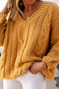 Yellow Cable Knit Loose Pullover Sweater – Jassie Line Casual Sweaters, Cable Knit Sweaters, Sweaters For Women, Striped Sweaters, Chunky Knits, Oversized Sweaters, Winter Sweaters, Vintage Sweaters, Cozy Sweaters