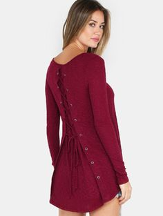 Long Sleeve Lace-up Back Top BURGUNDY