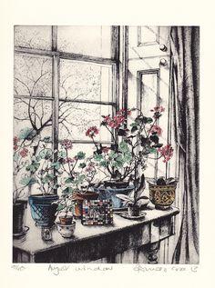 """Pamela Grace - """"August Window"""", 2013. Etching."""