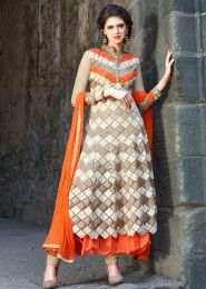 Party Wear Net Orange Embroidered Work Anarkali Suit