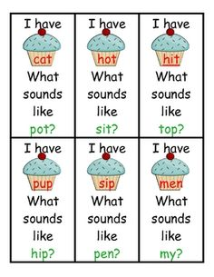This is a free cupcake themed I have/Who has Game. There are 5 different versions; rhyming words, number words, two/three letter sight words, four letter sight words, and blank for you to use however you need.