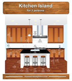 What are the standard kitchen island dimensions? It depends on the number of seats. We researched and put together custom illustrations setting out all the key dimensions for island size. Kitchen Cabinet Remodel, New Kitchen Cabinets, Kitchen Flooring, Kitchen Backsplash, Kitchen Island Dimensions With Seating, Kitchen Island With Seating For 6, Kitchen Cabinet Dimensions, Kitchen Island Size, Kitchen Size
