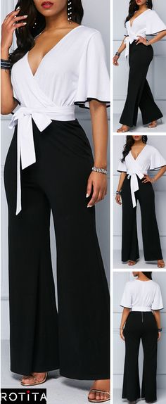 Flare Sleeve Tie Waist Color Block Jumpsuit It& a unique Color Block Jumpsuit that& perfect for the office party,a night at the theater or any special occasion this holiday season. Dress Up Outfits, Mode Outfits, Classy Outfits, Fashion Dresses, Christmas Fashion, Autumn Fashion, Overall, Special Occasion, Theater