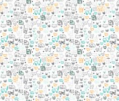 Cute doodle cats and kittens animal print for kids fabric by littlesmilemakers on Spoonflower - custom fabric