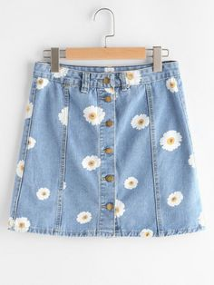 SheIn offers Single Breasted Daisy Print Denim Skirt & more to fit your fashionable needs. Source by cynthiaoighavongbe - Fashion Mode, Cute Fashion, Teen Fashion, Korean Fashion, Fashion Outfits, Painted Jeans, Painted Clothes, Cool Outfits, Summer Outfits