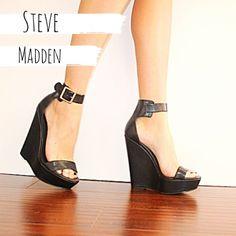 Steve Madden Wedges s t e v e   m a d d e n s i z e :  7.5 c o l o r :  b l a c k  w i t h   g o l d b a r e l y   w o r n Steve Madden Shoes Wedges