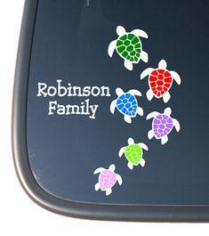 Turtle Family Stick Family Vinyl Car Decal Sticker. $8.29, via Etsy.