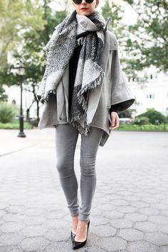 Gray tones jeans, cape, scarf  // Atlantic-Pacific
