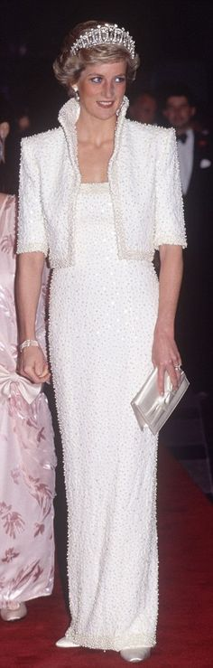 "♥♥ Princess Di!!!! One of my fav style moments in the famous Catherine Walker ""Elvis dress"" studded w/ 20,000 pearls!"