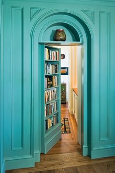 How cool is THAT? Great color, and a secret door! By Peter Pennoyer Architects - nice! #design