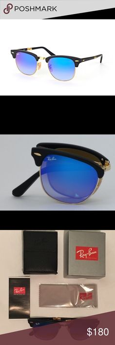 100 % Authentic and NEW! Ray Ban model number -RB 2176 901-S/7Q - Folding Clubmaster - Color Code - 901S7Q - Lens Color - Blue Flash Gradient - Eye Size - 51. Comes with box- case- cleaning cloth and authenticity certificate. Ray-Ban Accessories Sunglasses