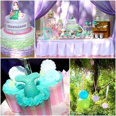 Mermaid Themed Birthday Party Full of Really Cute Ideas via Kara's Party Ideas KarasPartyIdeas.com #mermaidparty #mermaids #mermaidcake #und...
