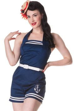 Nautical Playsuit by Hell Bunny - I seriously want one!