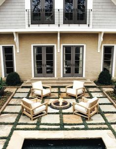 Love the square block patio and fire pit