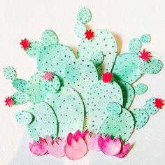 Watercolour Paper Cacti Art by Little Paper Lane  www.littlepaperlane.com.au