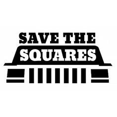 """Save the Squares"" Jeep Cherokee XJ Square Headlight Vinyl Decal"