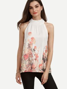 Multicolor Floral Mock Neck Tank Top