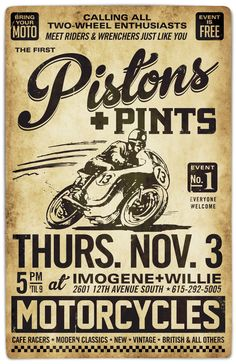 New Motorcycle Poster Vintage Motors 16 Ideas Source lin… Neues Motorradplakat Vintage Motors 16 Ideen Quelllink Vintage Signs, Vintage Ads, Vintage Posters, Vintage Style, Vintage Items, Bike Poster, Motorcycle Posters, Motorcycle Quotes, New Motorcycles