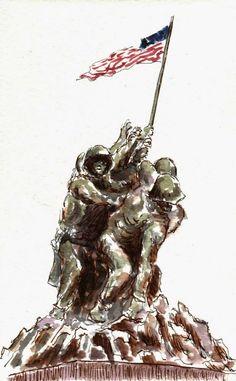 Urban Sketchers Washington DC: Marine Corps Memorial