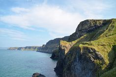 Bright Green Cliffs Along the Causeway Coast in Northern Ireland