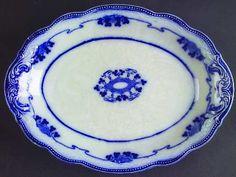 """Grindley Lorne (Flow Blue) 10"""" Oval Serving Platter"""