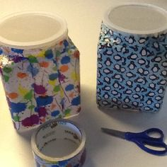 Duct tape idea...upscale containers (ie Yogurt, peanut butter) by decorating with pretty duct tape.