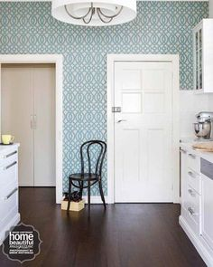 Kitchen Update Ideas:  Blue & White Wallpaper