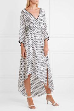 Diane von Furstenberg - Asymmetric Polka-dot Silk Midi Wrap Dress - White