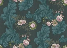 Darly Indigo (P523/05) - Designers Guild Wallpapers - A dramatic design with floral sprays, swirling arabesque pattern and touches of metallic. Shown in indigo blue, rose pink on black with gold highlights. Please ask for sample for true colour match.