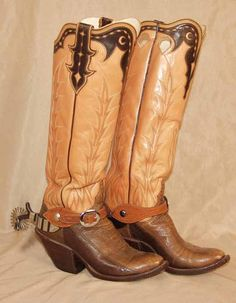 Tri color tall cowboy boots with spurs Custom Cowboy Boots, Custom Boots, Cowboy Boots Women, Cowgirl Boots, Western Boots, Western Wear, Old West Boots, Old Boots, Shoe Boots