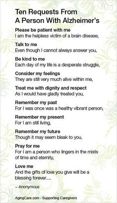A great reminder for those caring for someone with Alzheimer's.  ##Caregivers #caregiving #caregivertips
