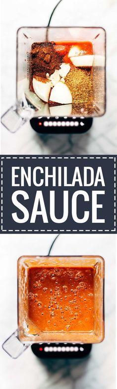 Five Minute Blender Enchilada Sauce - 6 ingredients // 5 minutes. A super healthy alternative to canned enchilada sauce! | pinchofyum.com: