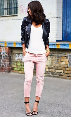 #LeatherJackets #PinkTrouser Colored Trousers || 35 Insanely Cute Outfits for College Girls || Cute Outfits for College Girls || Cute Outfits Ideas || Back to school outfits