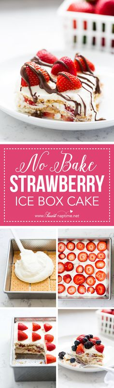 Icebox Cake NO BAKE Strawberry Icebox Cake - a quick and easy dessert made with homemade whipped cream.NO BAKE Strawberry Icebox Cake - a quick and easy dessert made with homemade whipped cream. Mini Desserts, Frozen Desserts, Sweet Desserts, No Bake Desserts, Easy Desserts, Delicious Desserts, Oreo Desserts, Birthday Desserts, Pudding Desserts