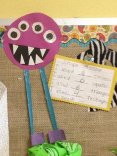 Glitzy In 1st Grade: Classroom Decor  Monster Shape math. Cute idea for art and math.
